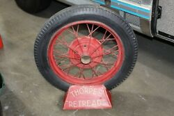 Vintage Thorpes Retreads Tire Display Holder Rack With Gilette Tire