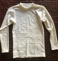 Starter Fitted Dri Fit Long Sleeve Shirt Boys L White $14.99
