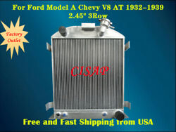 For Ford Model A Chevy V8 At 1932-1939 33 34 35 36 37 38 3rows Aluminum Radiator