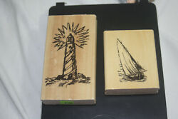 Nautical Rubber Stamps Lighthouse, Boat Wooden Mounted