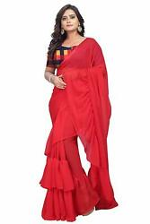 Red Ruffle Frill Saree Party Wear Designer Sari with Checkered Blouse