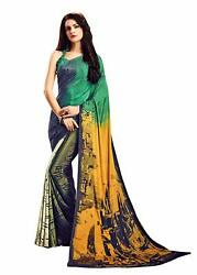 Multi Color Crepe Designer Bollywood Party Wear Saree Sari