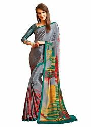 Gray Bollywood Designer Party Wear Indian Pakistani Saree Sari