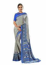 Bollywood Designer Party Wear Indian Crepe Saree Sari 17