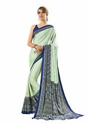 Bollywood Designer Party Wear Indian Crepe Saree Sari 13