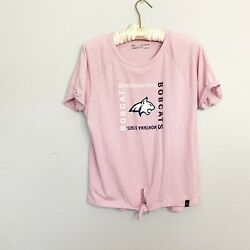 UNDER ARMOUR Youth Pink MONTANA STATE BOBCATS LOGO GRAPHIC Tie Front Tee XL