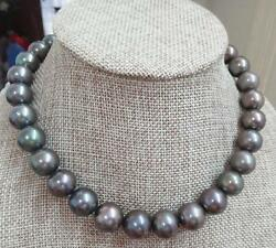 Huge 1812-15mm South Sea Genuine Gray Green Perfect Round Pearl Necklace