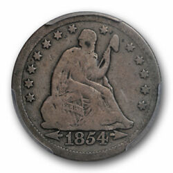 1854 O 25c Huge O Seated Liberty Quarter Pcgs Vg 8 Very Good Cac Approved