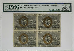 25 Cents Second Issue Fractional Currency Pmg About Unc 55 Epq- Uncut Block Of 4
