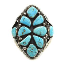 Navajo Morenci Turquoise Cluster And Silver Bracelet, C. 1980s, Size 7