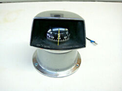 Vintage -- Metal Airguide Chicago Usa Boat Compass With Hood P-4549