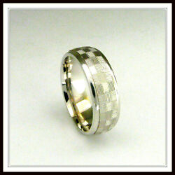 18 Kt Solid White Gold Wedding Band Custom Made For Men And Ladies / De 0025 /