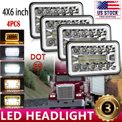 4x6 Led Headlights Sealed Hi/lo Beam Halo Amber Drl For Freightliner Fld120 112