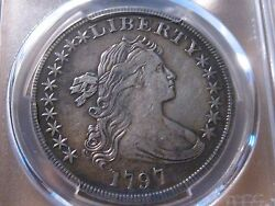 1797 Small Eagle 10 6 Stars Draped Bust Dollar PCGS XF Details