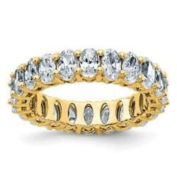14k Yellow Gold D-color Moissanite Oval Cut 5mm Wide 5ct Eternity Band Ring Sz 8