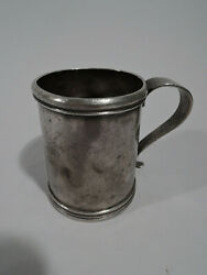 Antique Mug - Christening Baby Cup - Heavy Deep Patina - South American Silver A