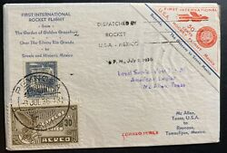 1936 Mcallen Tx Usa First Rocket Flight Airmail Cover To Reynosa Mexico