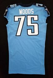 75 Antwaun Woods Of Tennessee Titans Nfl Locker Room Game Issued Jersey