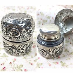19th C. Sterling Silver Repousse Travel Inkwell Floral William B. Durgin Gorham