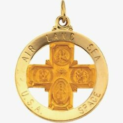 St Christopher 4 Way Medal In 14k Yellow Gold 33mm Air Land Sea Space Military