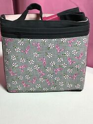 Crossbody Over the Shoulder Bag Purse Handmade in USA Pink Ribbon Hand Bag $40.00