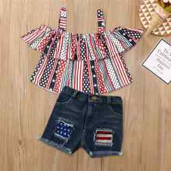 NWT Patriotic 4th of July Girls Crop Top Denim Shorts Outfit Set 2T 3T 4T 5T 6