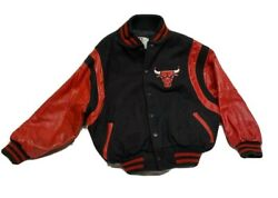 Vtg Chicago Bulls Youth Kids Size 10 Wool Leather Letterman Jacket By Identity