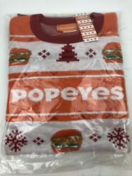 New Popeyes Chicken Sandwich Ugly Christmas Sweater Men's Size Xl Free Shipping