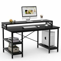 Tribesigns 55modern Office Computer Table Desk Workstation With Storage And Hutch