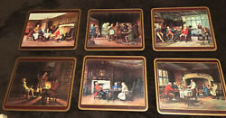 Vtg Set Of 6 Pimpernel Cork Placemats W/scenes Of Tradition English Social Life