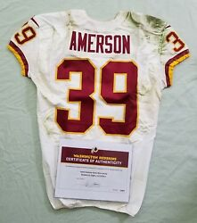 39 David Amerson Of Redskins Nfl Game Worn And Unwashed Jersey Vs. Eagles Wcoa