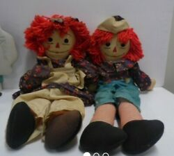 Vintage Raggedy Anne And Andy Cloth Dolls 28