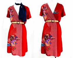 Size 6 Asian Rayon Print Dress - 1940s Inspired Red Floral Summer 70s 80s