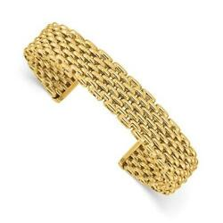 14k Solid Yellow Gold Mesh Design Woven Cable Wide Cuff Bangle Bracelet 19.5 Gr