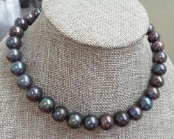 Huge 1812-15mm South Sea Genuine Black Multicolor Perfect Round Pearl Necklace