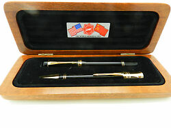 Parker Duofold Set Le World Memorial F P Fountain Pen And Ballpoint Pen New In Box