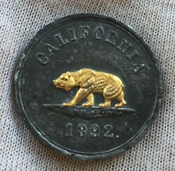 California - Gold Silver Tin Products California 1892 Medal With Gold Inlay
