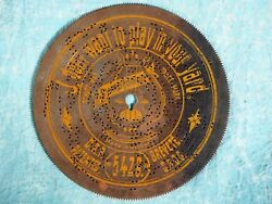 German Antique Symphonion Music Box Disc 5429 I Don't Want To Play In Your Yard