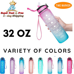 Sports Motivational Drinking Straw Water Bottle With Time Marker 32 Oz Bpa Free