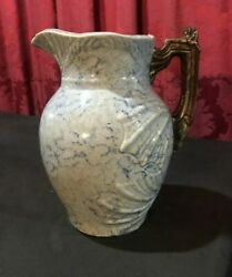 Unusual Early Antique Country Embossed Spongeware Pitcher