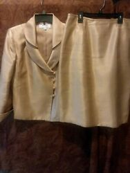 Suit Studio Women Skirt Suit Size 10tan Satan Lookpolyester And Rayon.