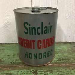 Sinclair Credit Cars Accepted Here Metal Oil Can Galvanized New Gas Advertising
