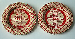 2 Wayside Tenney Farms Dairy Milk Bottle Wax Cap Nos New 1960and039s Greenfield Ma