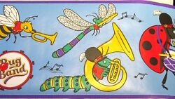 Wallpaper Border Kids Insects Bug Marching Band Music Blue Ladybug Caterpillar