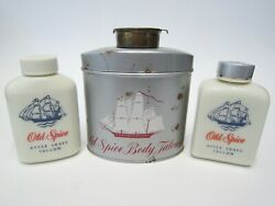 Vintage Old Spice Body Talcum Tin And After Shave Bottles Lot Of 3 Shulton