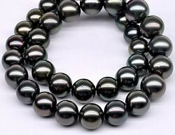 Huge 1812-15mm South Sea Black Round Pearl Necklace Good Luster Aa+