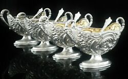Cased Antique Sterling Silver Salt Cauldrons And Spoons, James Deakin And Sons