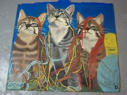 Cats In Twine Oil Painting On Wood