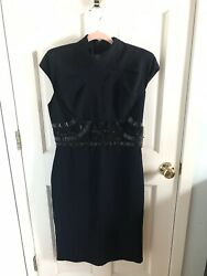 NWT Badgley Mischka Collection 12 $600 Navy Dress Cocktail Wedding New Beading