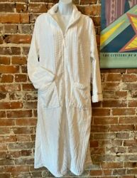Aria Soft White Plush Adult Full Zip Robe Pockets 2x New Cable Knit Pattern